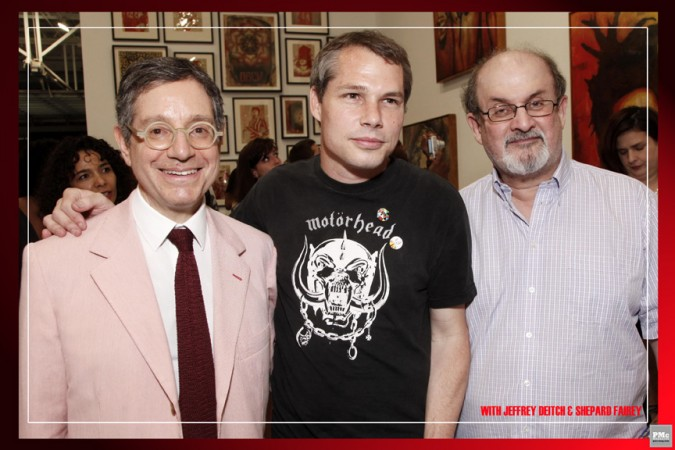 Jeffrey Deitch, Shepard Fairey, Salman Rushdie